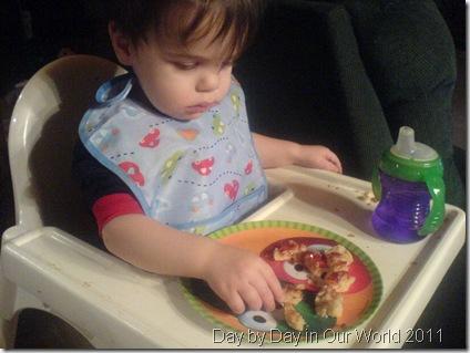 Little J takes a tenative taste