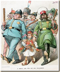 La caricatura prende in giro le grandi potenze (i poliziotti) e il giovane stato greco (il bambino vestito con la fustanella albanese)