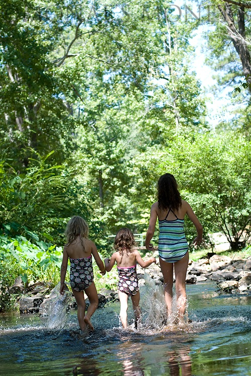 Girls walking in water blog