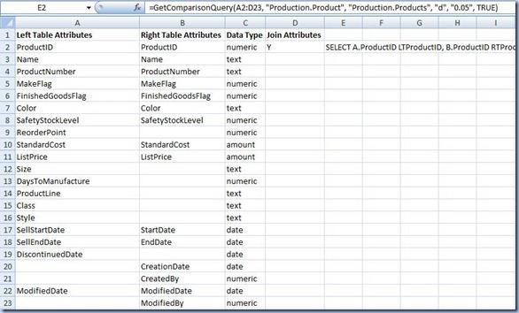 Excel - Comparison Datasets