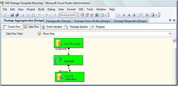 SSIS - Aggregate Data Flow Task