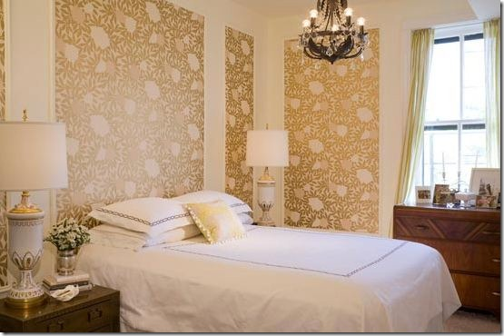 bedroom designed by summer thornton, with wallpaper panels on walls