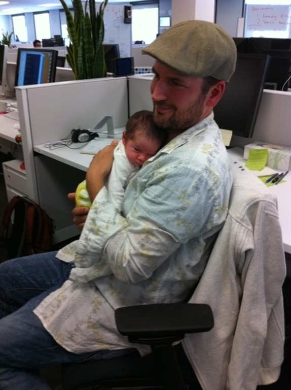 pappa with lux in office