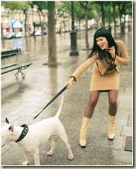 clipart image of woman with dog