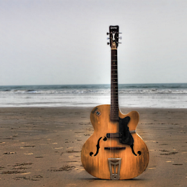 MUSIC EVERY WHERE by Suman Sengupta - Artistic Objects Musical Instruments ( canon, music, song, motionstopper, rawshooter, sea, guitar, beach, suman sengupta.india )