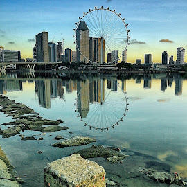 the Flyer by Ina Herliana Koswara - City,  Street & Park  Skylines ( flyer, skyline, reflections, cityscape, singapore )