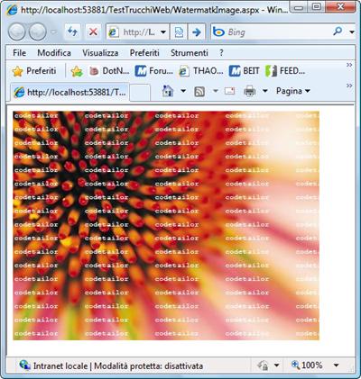 La pagina web con l'immagine e il watermark.
