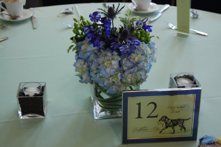Blue and Green centerpiece