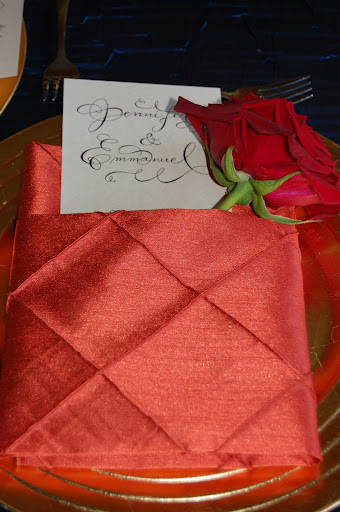 menu fold napkin with rose