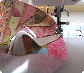 Sew bag front to side gusset