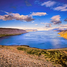 Fjord in Iceland by Roxie Crouch - Landscapes Waterscapes ( water, clouds, iceland, blue, bay., fjord., wide,  )