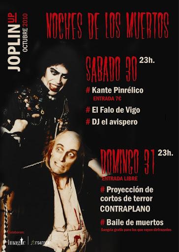 Cartel conciertos de octubre de 2010 en Sala Joplin de Segovia