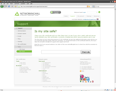 Networking4All: SSL Site Check tool
