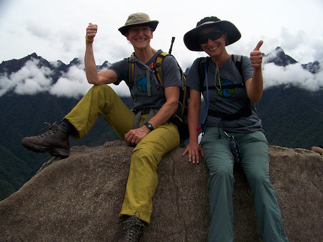 Liz and Pam on top of Wayna Picchu