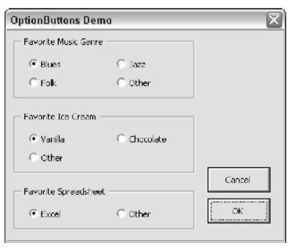 This dialog box contains three sets of Option Button controls.