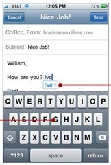 Use the iPhone's virtual keyboard to type.