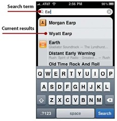 To perform a search, tap in the Search bar and type.