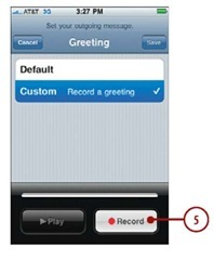 Using visual voicemail iphone tap recorde recording personal message appearsand recording begins m4hsunfo