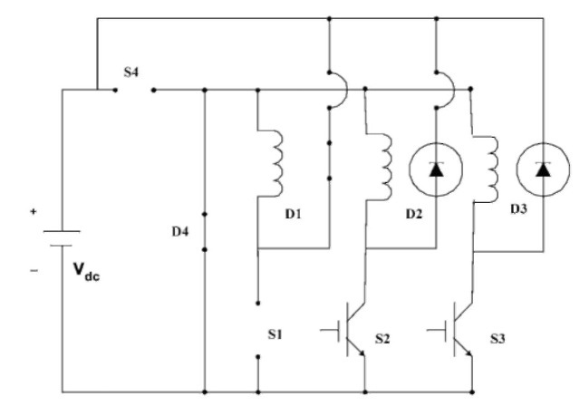 Equivalent circuit when D1 and D4 are on.
