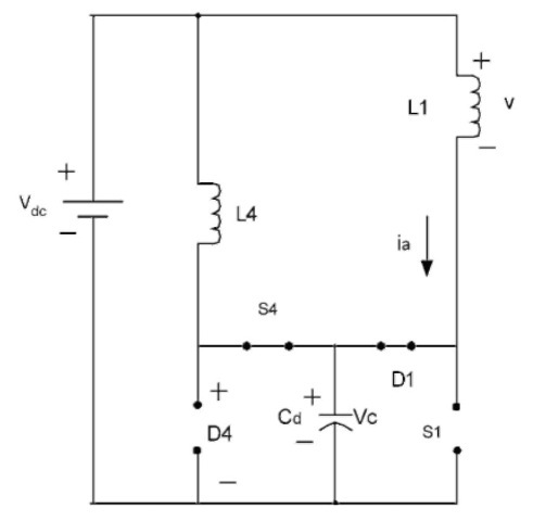 Equivalent circuit when D1 and S4 are on and S1 and D4 are off.