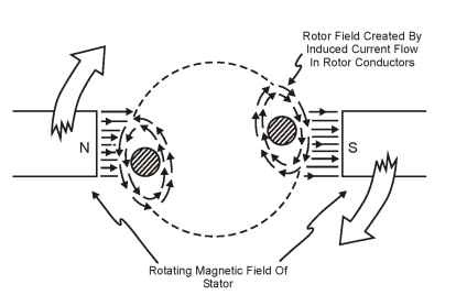 End view of two rotor segments (magnetic interaction with stator)