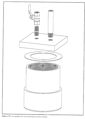 The shop drawing for the vacuum chamber lid. You can buy the aluminum from a metal dealer, but be sure to ask for an alloy that's machinable.