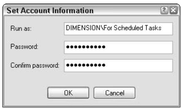 The ID and password must work whenever the backup is scheduled to run.
