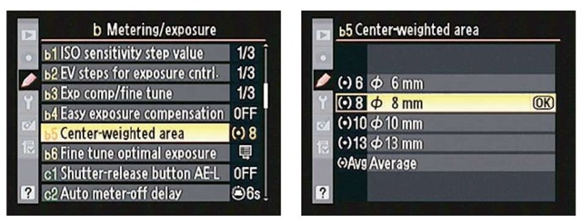 You can customize the center-weighted metering area.