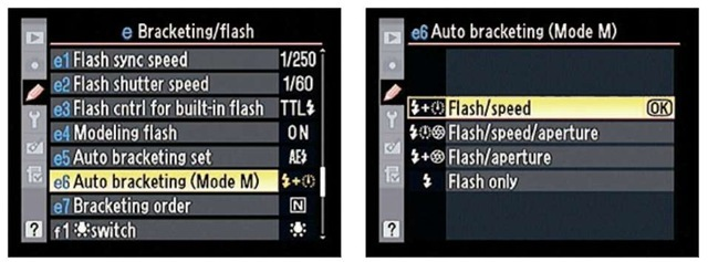 You can control which settings the camera adjusts between shots when you bracket exposure in manual exposure mode.