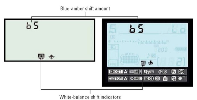 You can apply a shift along the blue/amber axis just by rotating the sub-command dial while pressing the WB button.