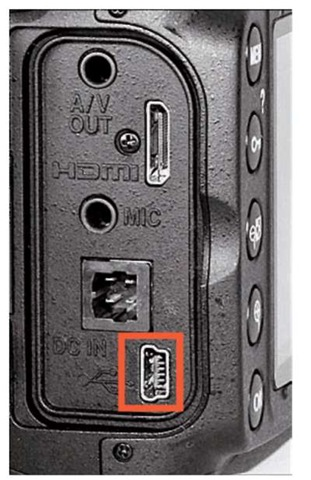 The USB slot is hidden under the rubber door on the left side of the camera.