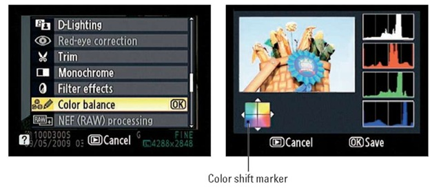 Press the Multi Selector to move the color-shift marker and adjust color balance.
