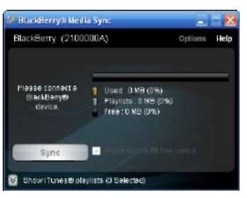 The BlackBerry Media Sync screen.