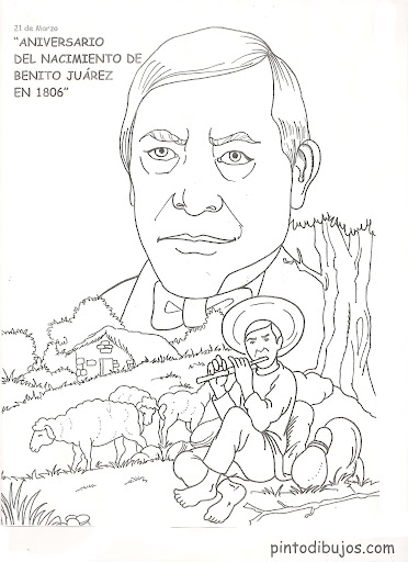 Benito Juarez coloring pages, Mexican Heroes