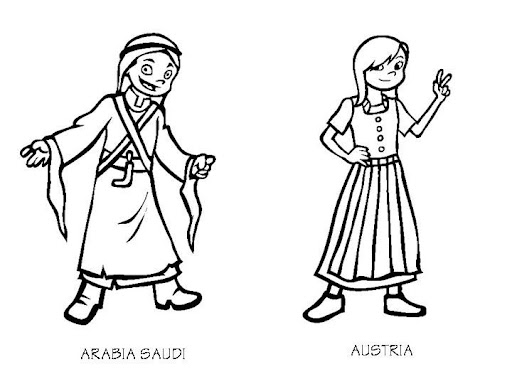 costumes of arabia saudi and austria coloring pages
