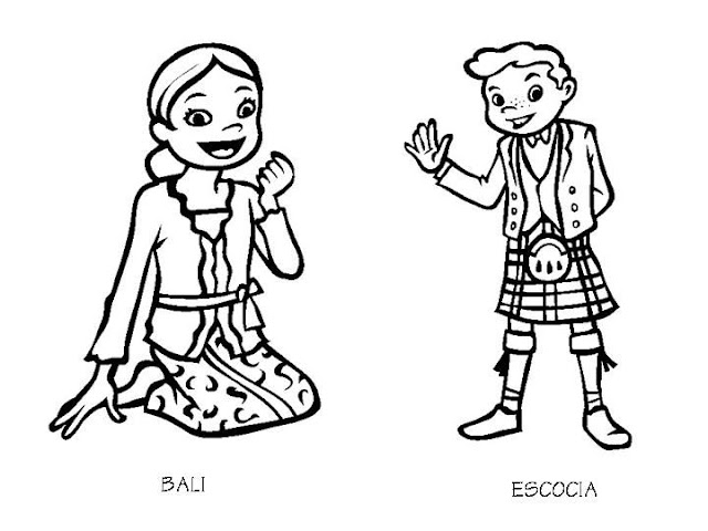 Outfit of bali and scotland free coloring pages