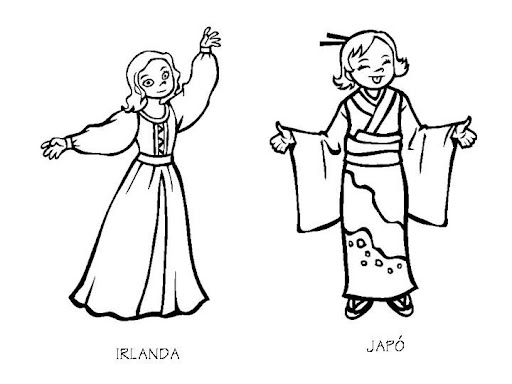 Outfit of Ireland and Japan, free coloring pages