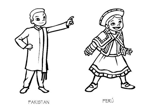 Pakistan and Peru costumes coloring pages