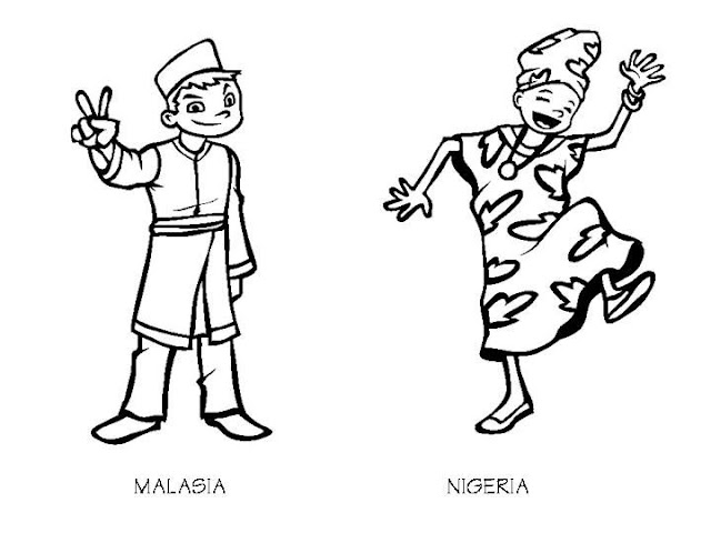 Outfit of Malaysia and Nigeria, free coloring pages