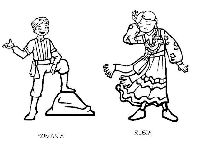 Rumain and Russia costumes coloring pages