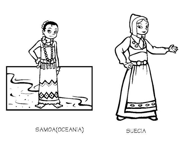 Oceania and sweden costumes coloring pages