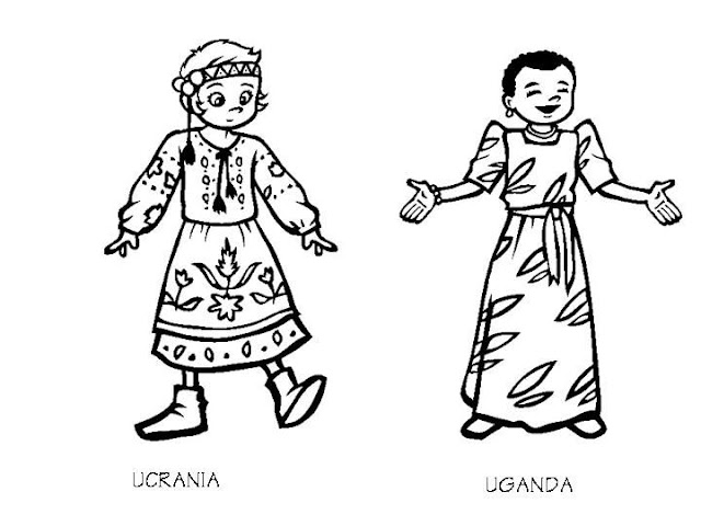 Uganda costumes and ukraine costumes coloring pages