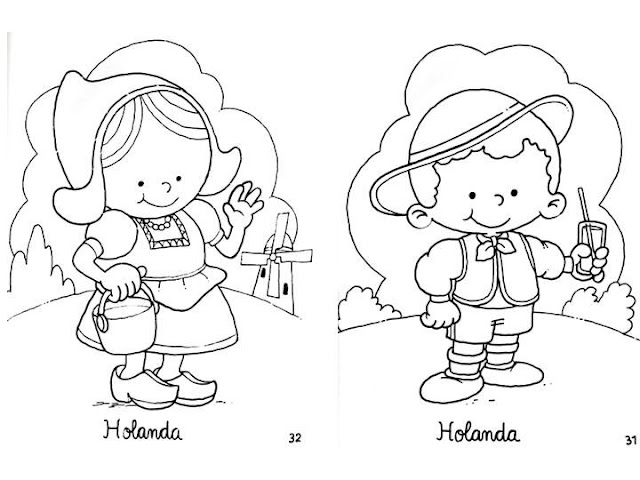 Outfit of Holland, free coloring pages