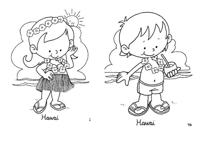 Outfit of Hawaii coloring pages