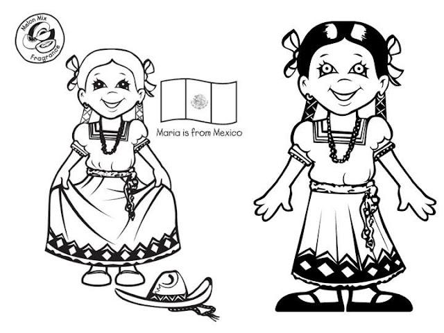 Pinto Dibujos: Vestuario típico de México para colorear