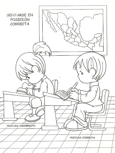Children sit in the correct position, free coloring pages