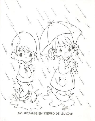 No mojarte en tiempos de lluvias para colorear