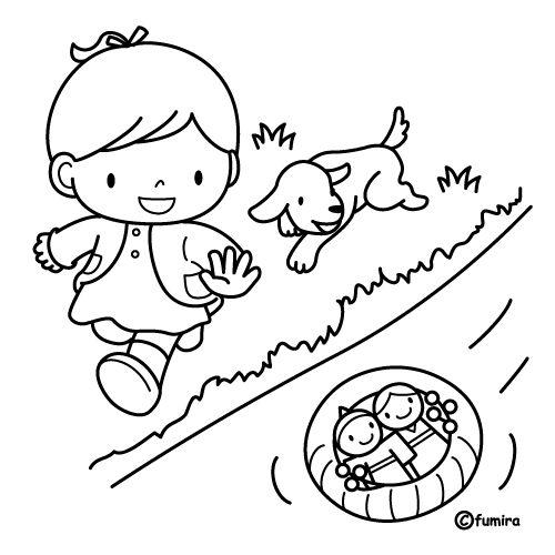 Niña jugando en río