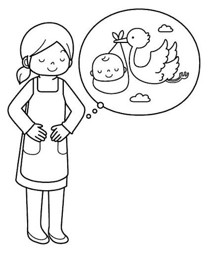 Pinto Dibujos: Mujer embarazada para colorear