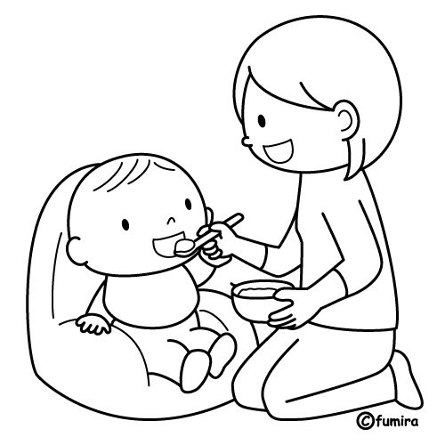 Mother feeding baby free coloring pages for Mom and baby coloring pages